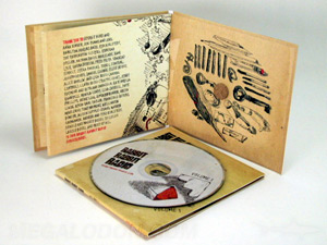 cd jacket with cork hub booklet