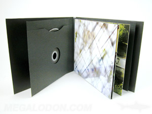 CD LP album packaging with swinging sleeve, 2 disc cd book