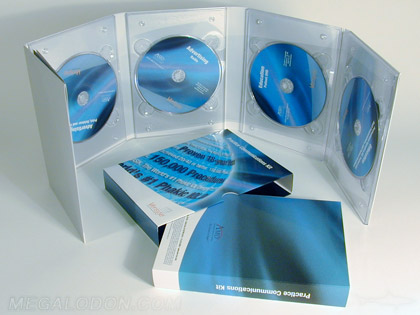 Multidisc set packaging 4 discs cds or dvds in a 10pp tall traypack with four trays slipcase set