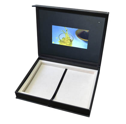 leather wrapped box video screen
