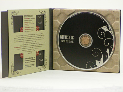 custom cd album with recycled paper tray and die cuts
