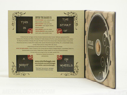 custom cd paper tray packaging recycled paper with cork hub die cut front panel