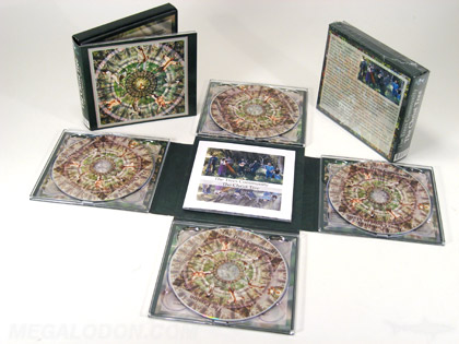 Cross shaped 4 cd set four trays one booklet in center panel