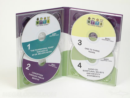 Multi disc set, 4 discs (cd and dvd) using double disc trays to hold 2 discs per panle, 4pp tall traypak packaging