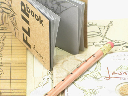 perfect bound flipbook note book with vellum pages