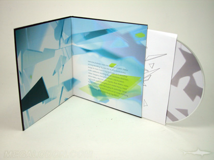 CD LP inside showing laminated wrap across inside