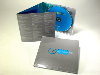 die cut cd packaging with lettering knockouts