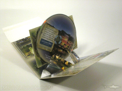 custom die disc pop up mailer with card