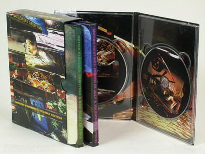 Multidisc set packaging, multi volumes 4pp Tall tray packs with 7inch clear plastic trays, slipcase set