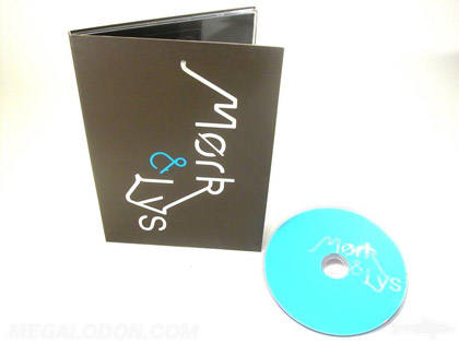 silver and blue foil stamping on wide digipak 5x7